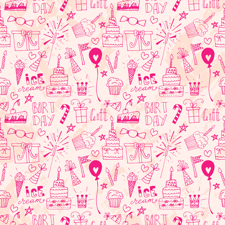 scetch: Doodle Birthday party background. Hand drawn scetch elements. Seamless pattern.