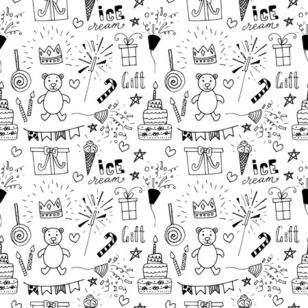 birthday party background: Doodle Birthday party background. Hand drawn scetch elements. Seamless pattern.