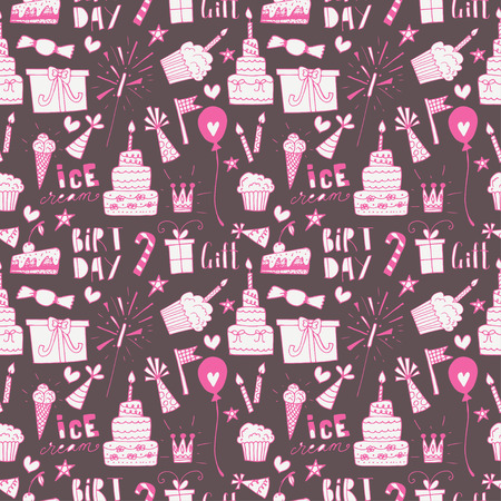 birthday presents: Doodle Birthday party background. Hand drawn scetch elements. Seamless pattern.