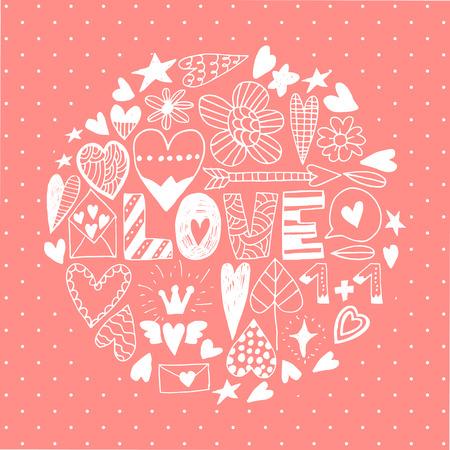 Mano icono del día doodle de San Valentín fijó. Elementos del vector para las invitaciones, scrapbooking, tarjetas, carteles. Corazones y las letras del vintage.