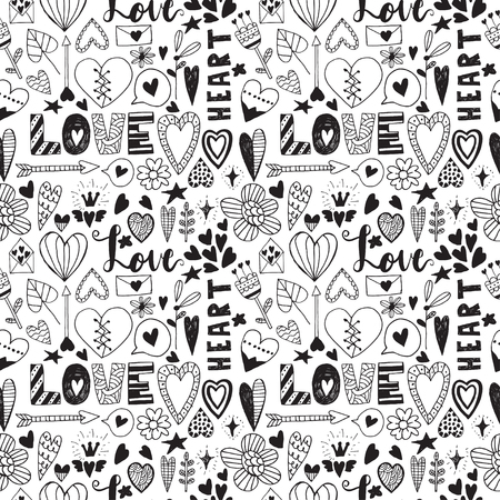 Hand drawn saint valentine day doodle seamless patern. Vector elements for invitations, scrapbooking, cards, posters. Vintage hearts and lettering.