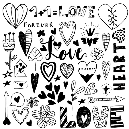 Hand drawn saint valentine day doodle icon set. Vector elements for invitations, scrapbooking, cards, posters. Vintage hearts and lettering.