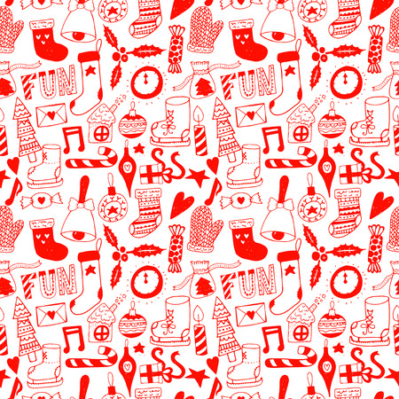 gift wrapping: Hand draw doodle seamless pattern. Unique vector new year pattern for your scrapbooking projects.  Pattern for fabric, wallpaper, gift wrapping. Illustration