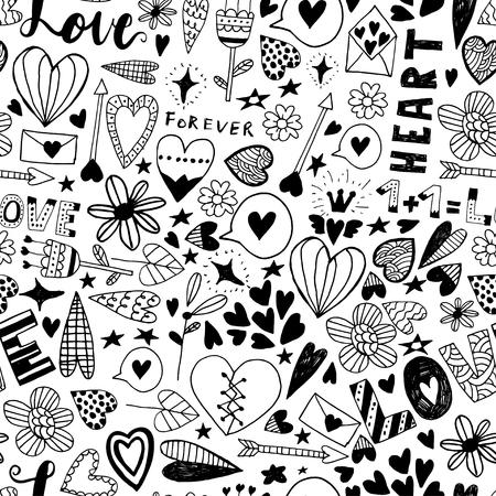 Dibujado a mano día de San Valentín del Doodle patern sin fisuras. Elementos del vector para las invitaciones, scrapbooking, tarjetas, carteles. Corazones y las letras del vintage.