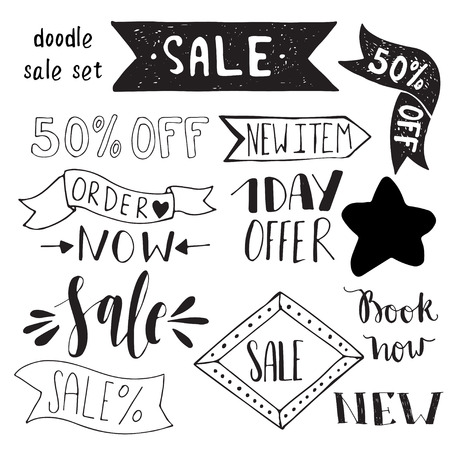 ribbon vector set: Hand drawn ribbon vector setHand drawn ribbon vector set.  Doodle vector brushes for wreaths and badges.