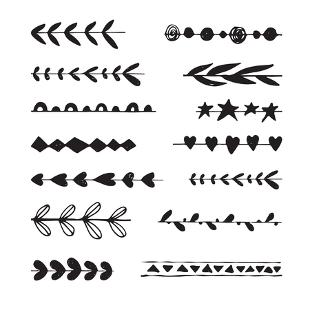 ribbon vector set: Hand drawn ribbon vector set.  Doodle vector brushes for wreaths and badges. Illustration