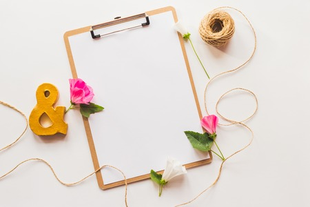 notebook paper background: Identity and craft mockup  with retro filter effect. Cute vintage mock up on wooden background.