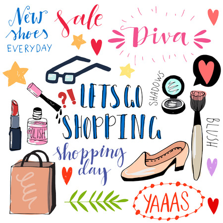 mack: Hand drawn shopping doodle icons. Cute vector illustrations. Funny doodles. Girly shopping icons.