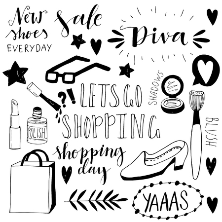 Hand drawn shopping doodle icons. Cute vector illustrations. Funny doodles. Girly shopping icons.