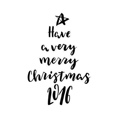 merry mood: Hand drawn vector lettering. Motivating modern calligraphy. Inspiring  hand lettered quote for wall poster or mood bord. Home decoration. Printable phrase. Have a very merry christmas.