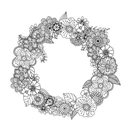Hand getrokken zentangle doodle illustratie voor volwassen kleurboeken in vector. Unieke kanten bloemen doodles voor uw ontwerp.