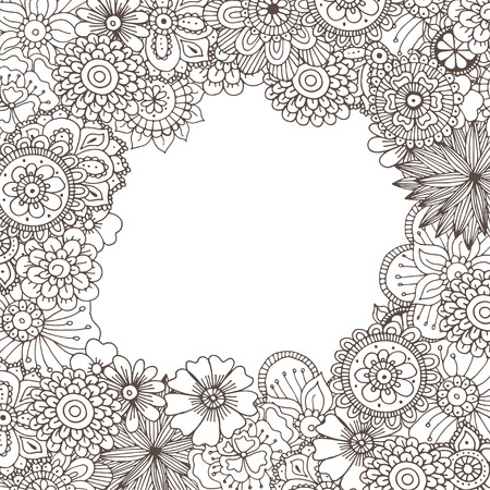 coloring book page: Hand drawn zentangle doodle illustration for adult coloring books in vector. Unique lacy floral doodles for your design. Illustration