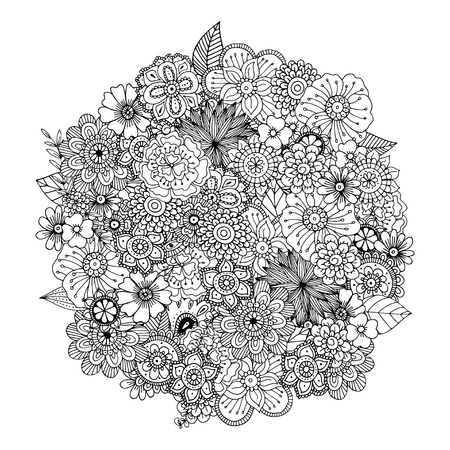 Hand drawn zentangle doodle illustration for adult coloring books in vector. Unique lacy floral doodles for your design. Vettoriali