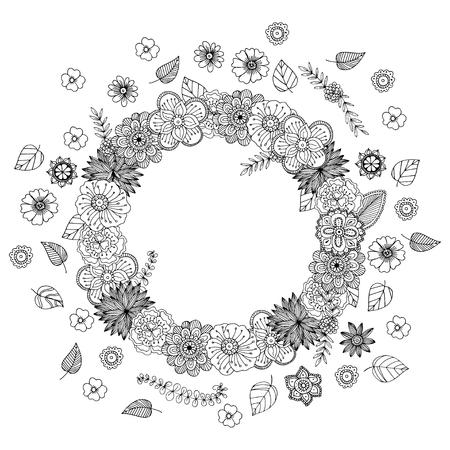 Hand getrokken zentangle doodle illustratie voor volwassen kleurboeken in vector. Unieke kanten bloemenkrabbels voor uw ontwerp. Stock Illustratie