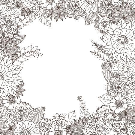 Ručně malovaná zentangle doodle ilustrace pro dospělé omalovánky v vektoru. Unikátní krajkové květinové čmáranice pro váš návrh. Ilustrace