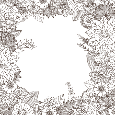 bordure de page: Tir� par la main zentangle doodle illustration pour livres � colorier pour adultes dans le vecteur. Dentelle griffonnages florales uniques pour votre conception.