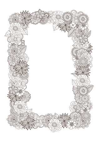 Hand drawn zentangle doodle illustration for adult coloring books in vector. Unique lacy floral doodles for your design. 向量圖像