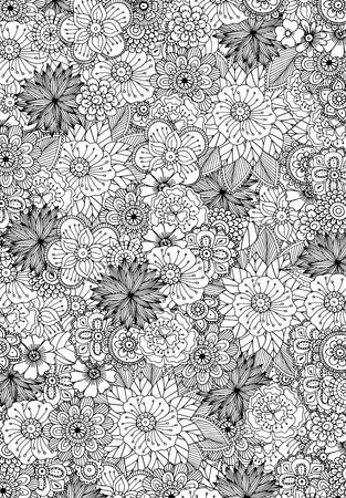 patrones de flores: Dibujado a mano ilustración del doodle del zentangle de libros para colorear para adultos en el vector. garabatos florales de encaje únicos para su diseño.