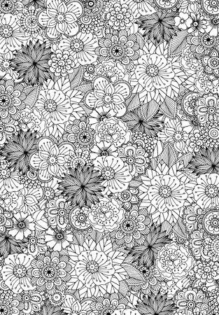 flower borders: Hand drawn zentangle doodle illustration for adult coloring books in vector. Unique lacy floral doodles for your design. Illustration