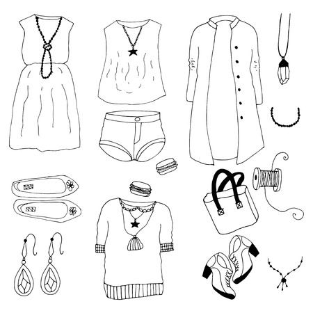 overlays: Hand drawn doodle sketch fashion clother illustration. Cute overlays for your blog posts photos.