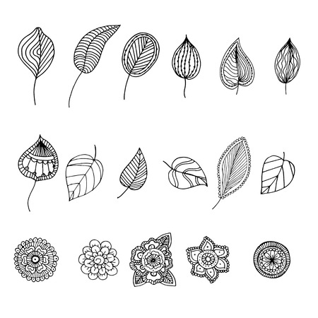 Hand drawn doodle illustration for adult coloring books in vector. Unique lacy floral doodles for your design. Vectores