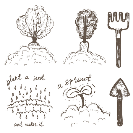 sprouting: Hand drawn doodle icons. Gardening supplies vector set.