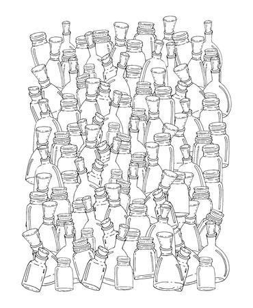 gente adulta: Drenaje de la mano elementos vectoriales. Tarros de cristal patrón para colorear adulto.