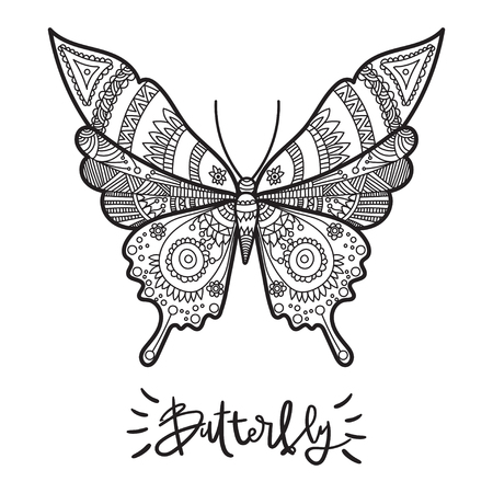 butterflies for decorations: Vector illustration for adults coloring books. Coloring page for adults.