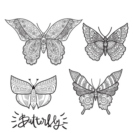 Vlinder Kleurplaten Voor Volwassenen.Samenvatting Geisoleerde Vlinder Voor Tattoo Kleurboek Voor