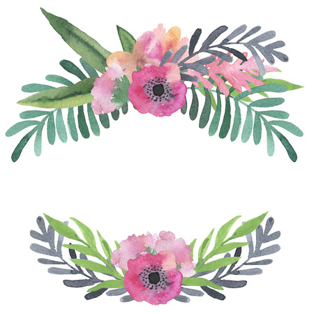 illustration: Hand painted vintage watercolor frames. unique botanical illustrations for scrapbooking, invitations. greeting cards.