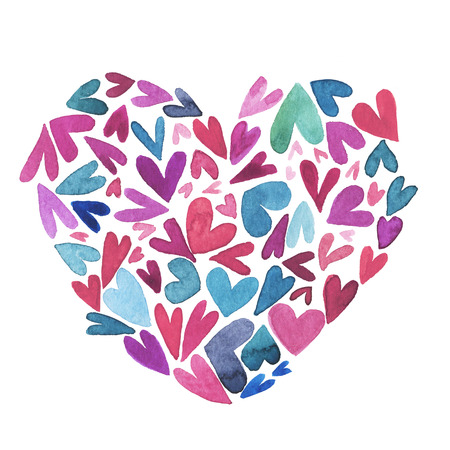 saint valentines: Lovely  watercolor illustration with hearts for saint valentines day