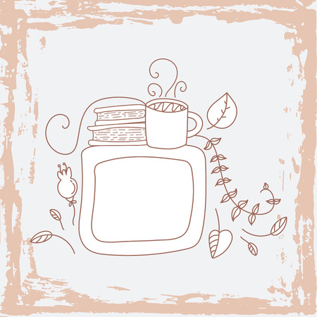 your text here: Hand drawn cute doodle vector illustration. Autumn card. Blank. Place your text here. Books and tea.
