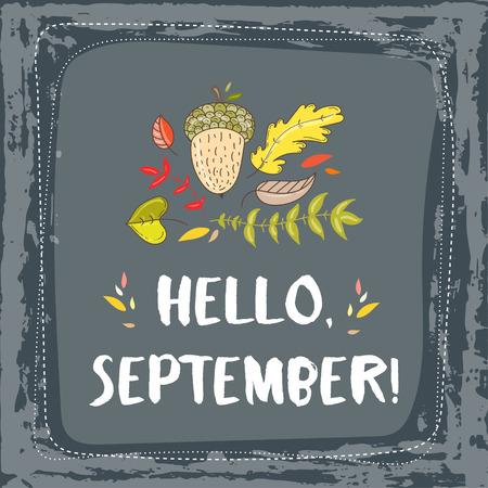 Hand getrokken grange vector kaart. Hallo september. Hallo herfst. Grunge herfst briefkaart. Cute doodle kaart met letters.