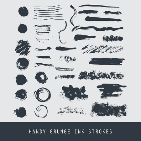 vectorized: Set of modern ink grunge brush strokes. Textures, lines, splashes, dots. Creative freehand isolated vectorized ink textured. Illustration