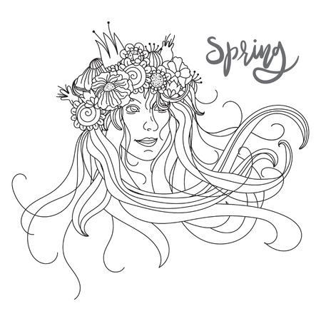 adults: Vector illustration for adults coloring books. Coloring page for adults. Line art. Women and flowers