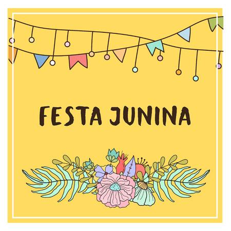 festa: Bright vector illustrationfor the Festa Junina Brazil Festival. Folklore holiday.  Festa Junina - June party.