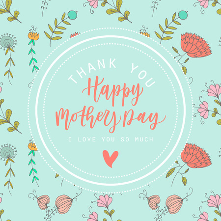 motivating: Happy mothers day hand drawn lettering motivating congratulation card