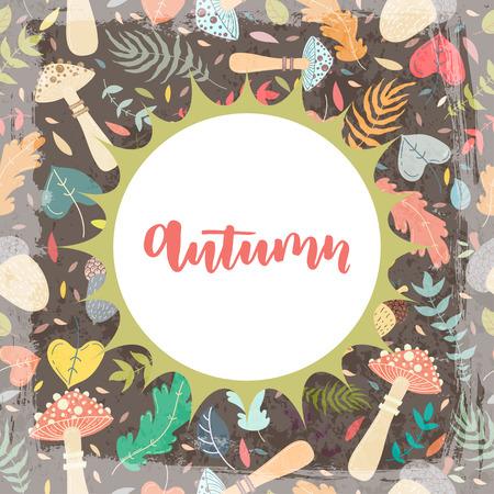 grange: Hand drawn grange vector card. Hello autumn. Grunge autumn postcard. Cute doodle card with lettering. Season. Pattern.