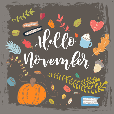 autumn grunge: Hand drawn grange vector card. Hello november. Hello autumn. Grunge autumn postcard. Cute doodle card with lettering. Illustration