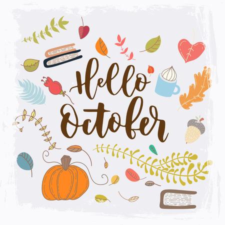 Hand getrokken grange vector kaart. Hallo oktober. Hallo herfst. Grunge herfst briefkaart. Leuke doodle kaart met belettering.