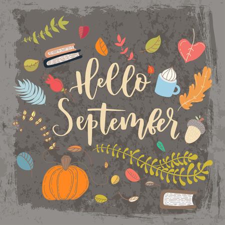 手には、グランジ ベクトル カードが描画されます。こんにちは、9 月。こんにちは秋。グランジ秋はがき。かわいい落書きカードの文字。