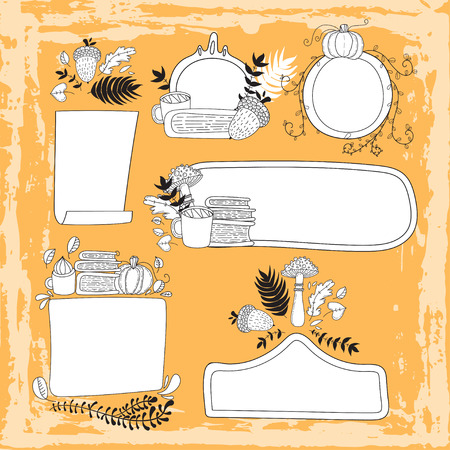 Hand drawn cute doodle vector illustration. Autumn card. Blank. Place your text here. Acorn, and leaves. Set of hand drawn doodle autumn frames.