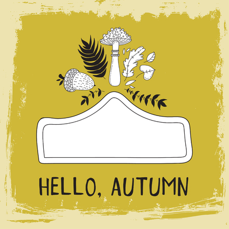 your text here: Hand drawn cute doodle vector illustration. Autumn card. Blank. Place your text here. Acorn and leaves.