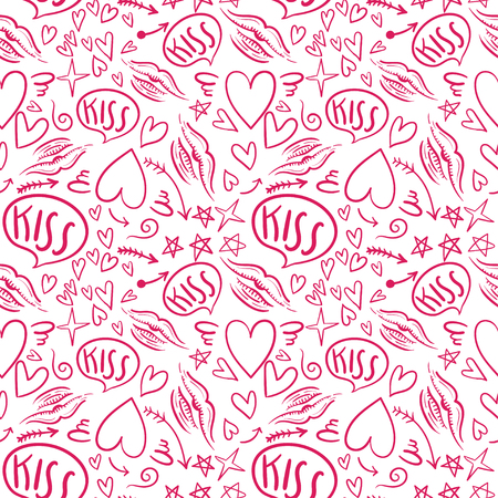 lipstick kiss: Hand drawn vector seamless pattern with a lipstick kiss prints on white background.