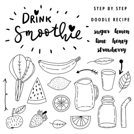 handdrawn: Set of hand drawn simple line vector doodle icons. Drink smoothie. Step by step easy to do recipe.