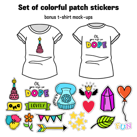 quirky: A set of quirky cartoon patch badges. Bright fashion pins.
