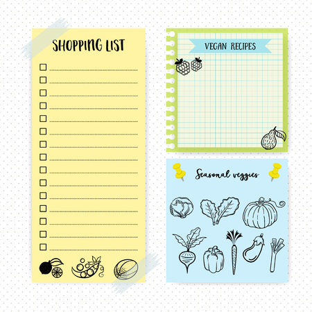 daily planner: Set of simple flat design memo pages. To do list. Shopping list. daily planner.