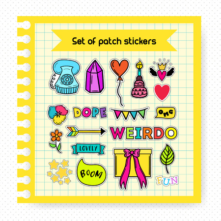 geeky: A set of quirky cartoon patch badges. Bright fashion pins. Fun sticker set on a copybook page. Notebook Mockup.