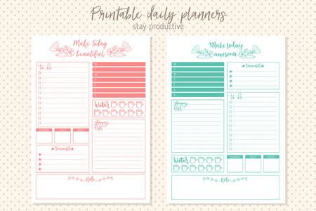 le style propre modèle de planificateur quotidien. Papeterie de conception. imprimable mignon et simple à faire la liste.