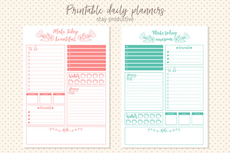 Clean style daily planner template. Stationery Design. Cute and simple printable to do list.